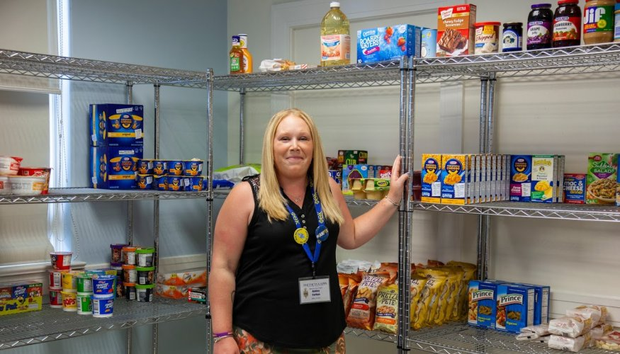 PTK student Ashley Forhan, food pantry manager